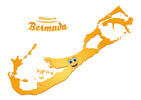 Welcome to Bermuda happy face map illustration Vettoriali