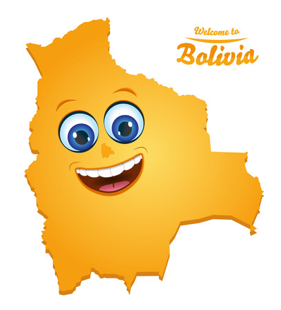 Welcome to Bolivia happy face map illustration