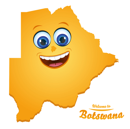 Welcome to Botswana happy face map illustration