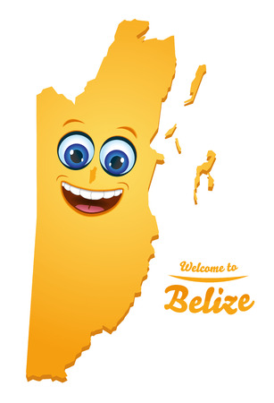 Welcome to Belize happy face map illustration