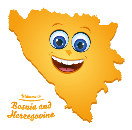 Welcome to Bosnia and Herzegovina happy face map illustration