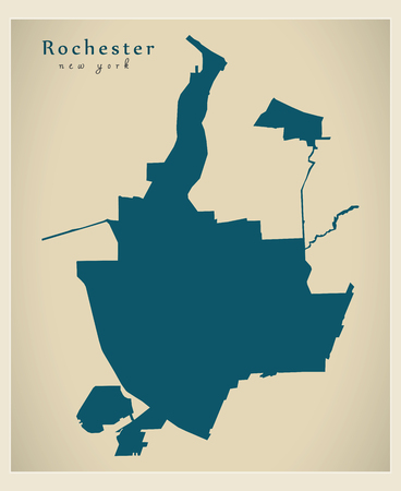 Modern City Map - Rochester New York city of the USA