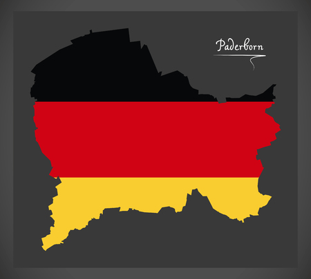 Paderborn City map with German national flag illustration