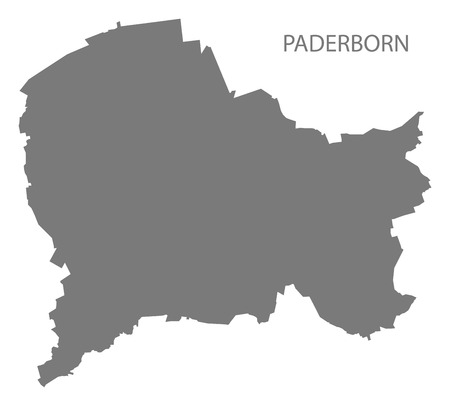 Paderborn city map grey illustration silhouette shape Ilustrace