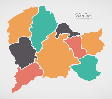 Paderborn Map with boroughs and modern round shapes Vector Illustration