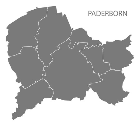 Paderborn city map with boroughs grey illustration silhouette shape