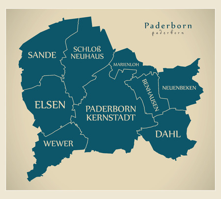 Modern City Map - Paderborn city of Germany with boroughs and titles DE