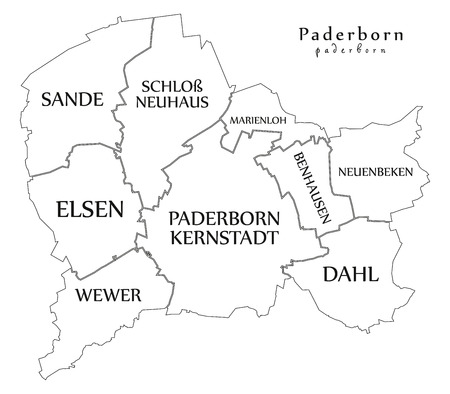 Modern City Map - Paderborn city of Germany with boroughs and titles DE outline map Ilustrace