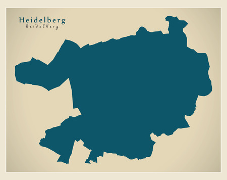 Modern City Map - Heidelberg city of Germany DE