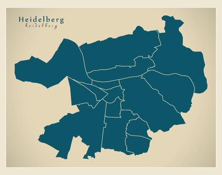 Modern City Map - Heidelberg city of Germany with boroughs DE