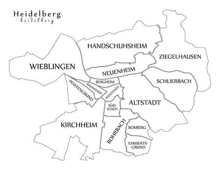 Modern City Map - Heidelberg city of Germany with boroughs and titles DE outline map Ilustrace