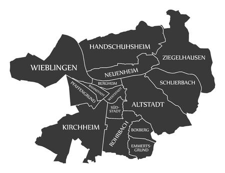 Heidelberg City Map Germany DE labelled black illustration Ilustrace