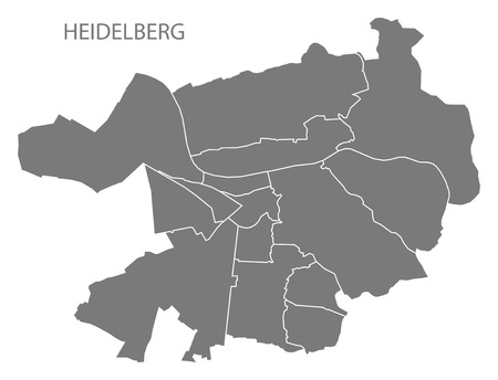 Heidelberg city map with boroughs grey illustration silhouette shape