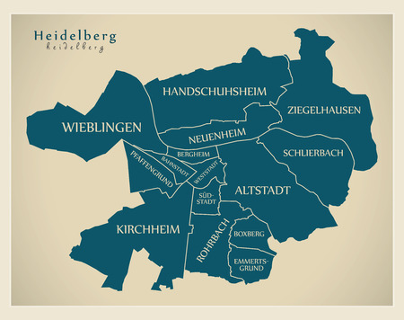 Modern City Map - Heidelberg city of Germany with boroughs and titles DE Ilustrace