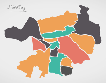 Heidelberg Map with boroughs and modern round shapes