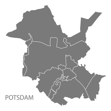 Mappa della città di Potsdam con la forma della siluetta dell'illustrazione dei quartieri grigi
