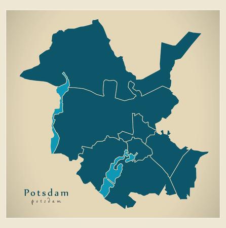 Modern City Map - Potsdam city of Germany with boroughs DE