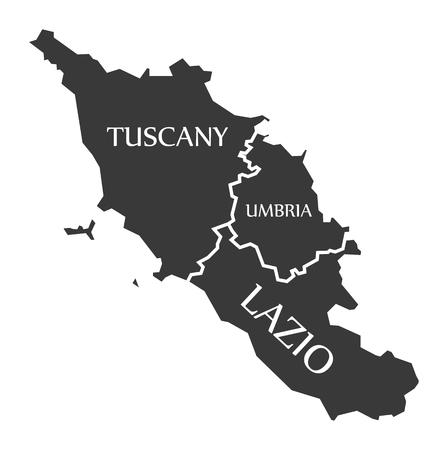 Tuscany - Umbria - Lazio region map Italy