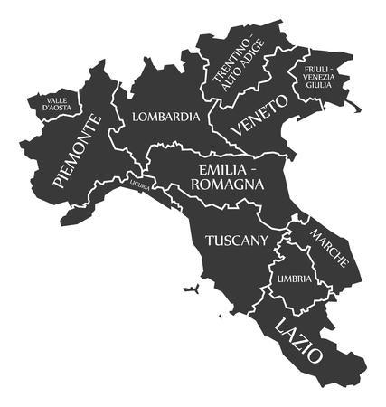 Northern regions of Italy map 矢量图像