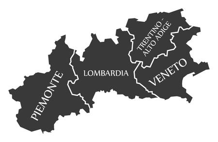 Piemonte - Lombardia - Trentino - Alto Adige - Veneto region map Italy
