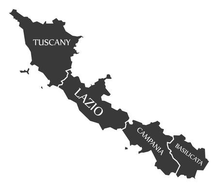 Tuscany - Lazio - Campania - Basilicata region map Italy