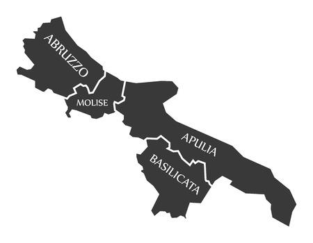 Abruzzo - Molise - Apulia - Basilicata region map Italy Ilustrace