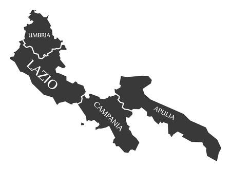Umbria - Lazio - Campania - Apulia region map Italy