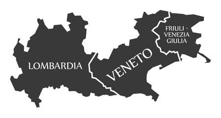 Lombardia - Veneto - Friuli - Venezia - Giulia region map Italy