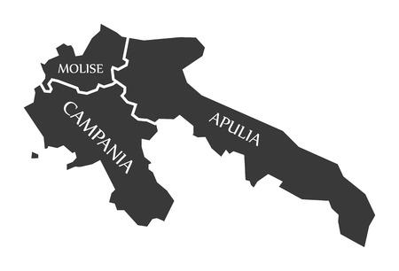 Molise - Campania - Apulia region map Italy