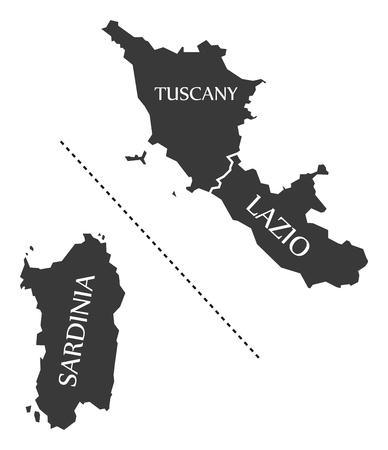 Sardinia - Tuscany - Lazio region map Italy