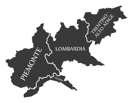Piemonte - Liguria - Lombardia - Trentino - Alto Adige region map Italy