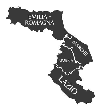 Emilia - Romagna - Marche - Umbria - Lazio region map Italy