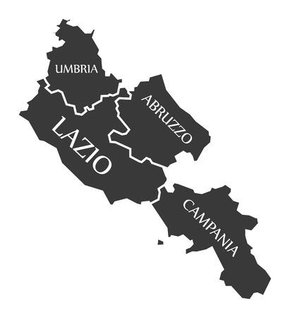 Umbria - Lazio - Abruzzo - Campania region map Italy