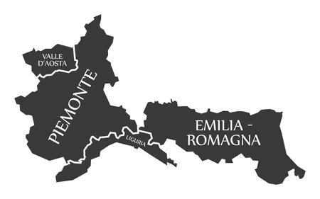 Valle D Aosta - Piemonte - Liguria - Emilia - Romagna region map Italy 일러스트