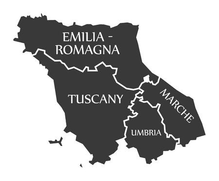 Emilia - Romagna - Tuscany - Marche - Umbria region map Italy
