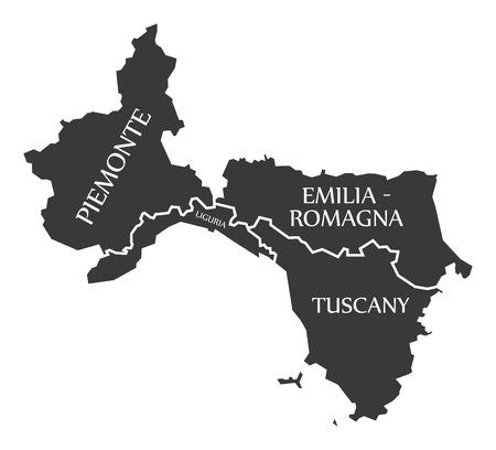 Piemonte - Liguria - Emilia - Romagna - Tuscany region map Italy 일러스트