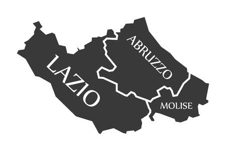 Lazio - Abruzzo - Molise region map Italy 向量圖像
