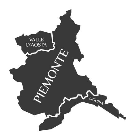 Valle D Aosta - Piemonte - Liguria region map Italy