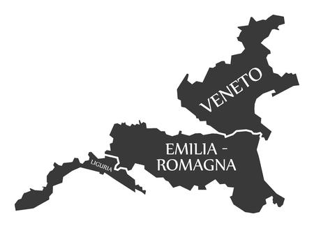 Liguria - Emilia - Romagna - Veneto region map Italy