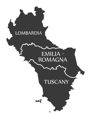 Lombardia - Emilia - Romagna - Tuscany region map Italy Ilustracja