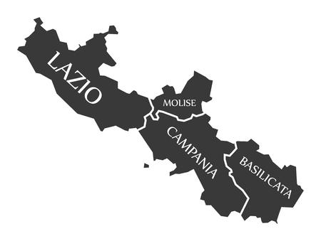 Lazio - Molise - Campania - Basilicata region map Italy
