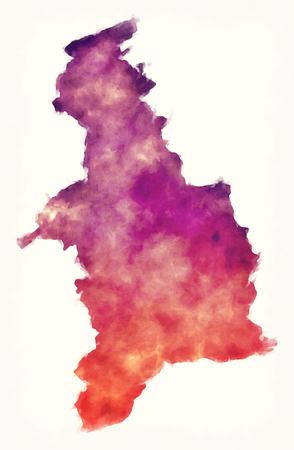 Denbighshire watercolor principal area map of Wales