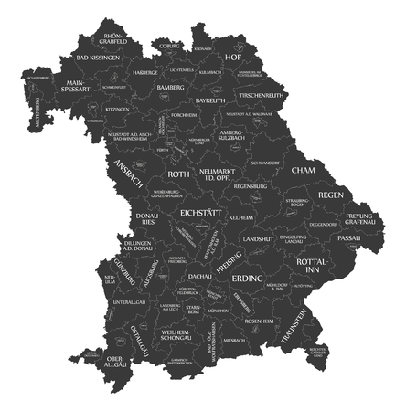 Modern Map - Bavaria map of Germany with counties and labels black 版權商用圖片