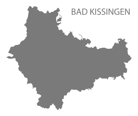 Bad Kissingen grey county map of Bavaria Germany