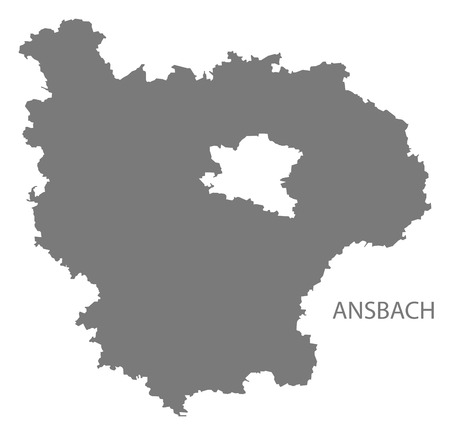 Ansbach grey county map of Bavaria Germany