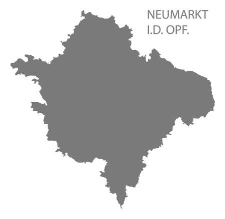 Neumarkt in der Oberpfalz grey county map of Bavaria Germany Ilustração