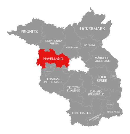 Havelland county red highlighted in map of Brandenburg Germany Illustration