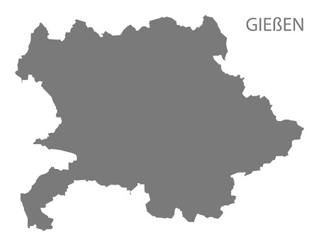 Giessen grey county map of Hessen Germany Illustration