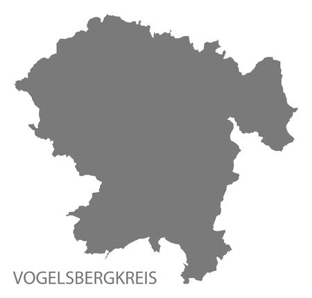 Vogelsbergkreis grey county map of Hessen Germany Stock Vector - 123112128