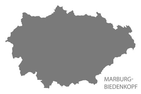 Marburg-Biedenkopf grey county map of Hessen Germany Stock Vector - 123112129